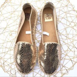 DV gold lame espadrilles slip on